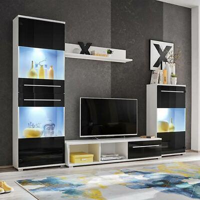 Parete attrezzata SANDER bianco nero lucido mobile soggiorno moderno design tv