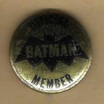 "Vintage Pinback Button Pin 1966 Batman 1"" Collection  ""Official Batman Member"""