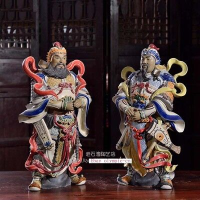Pair 16''china porcelain Ceramic Art folk exorcise evil spirits both God of Door