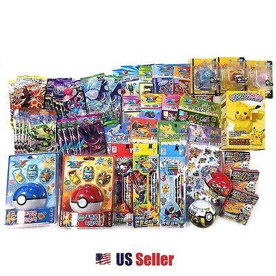 Pokemon 10 Assorted Toy Sticker Card Pokeball School Supply Stationary Gift Set