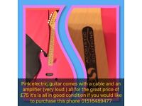 Girls pink electric guitar