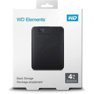 BRAND NEW Western Digital WD 4TB Portable Drive USB 3.0 WDBU6Y0040BBK PC / MAC