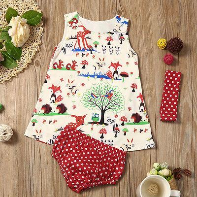 Baby Girls Woodlands Princess Dress Dot Shorts Pants Headband Outfit Clothes Set