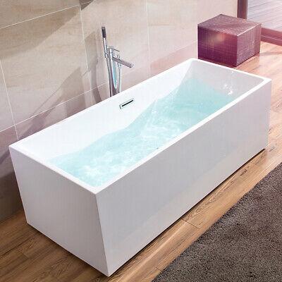 67 Inch Free Standing Acrylic White Bathtub Modern Rectangle Soaking Bathtub