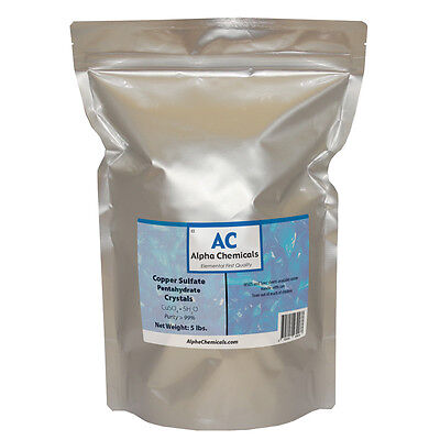 5 Pounds - Copper Sulfate Pentahydrate Crystals - 99 Pure
