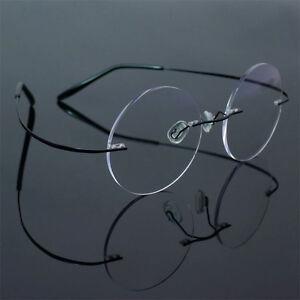 Titanium Rimless Vintage Round Flexible Optical Eyeglass Frame Spectacles 2007