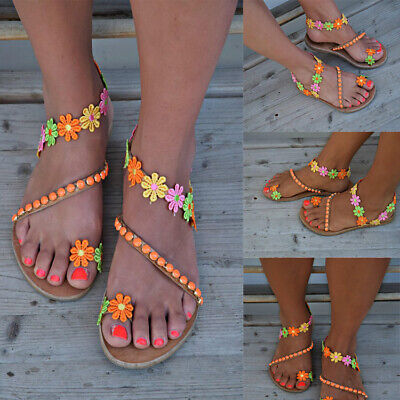 Womens Bohemian Flat Sandals PU Leather Flat Flip Flops Toe Ring Summer Shoes - Leather Womens Sandals