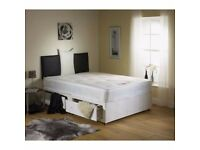 STYLISH LOOKS BRAND NEW DOUBLE DIVAN BED BASE ONLY 49 WITH BASIC DEEP QUILT MATTRESS ONLY 99