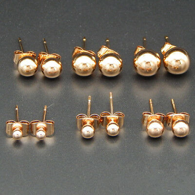 Small Butterfly Earrings - Rose Gold Stainless Steel  Mini Small Round Bead Ball Stud Earrings Size 3-6mm