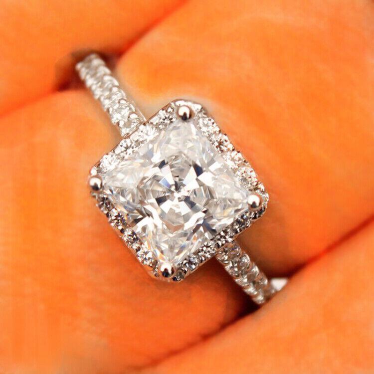 GIA Certified Diamond Engagement Ring 3 carat Cushion Shape 18K Gold Halo style