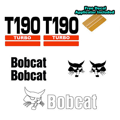 Bobcat T190 Turbo Skid Steer Set Vinyl Decal Sticker 7 Pc Set Free Applicator