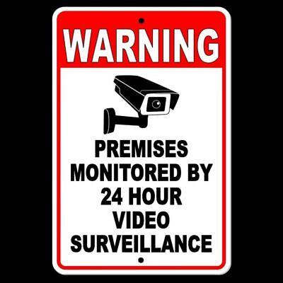 Warning Sign 24 Hour Video Surveillance Security Metal Cctv Camera Best S030