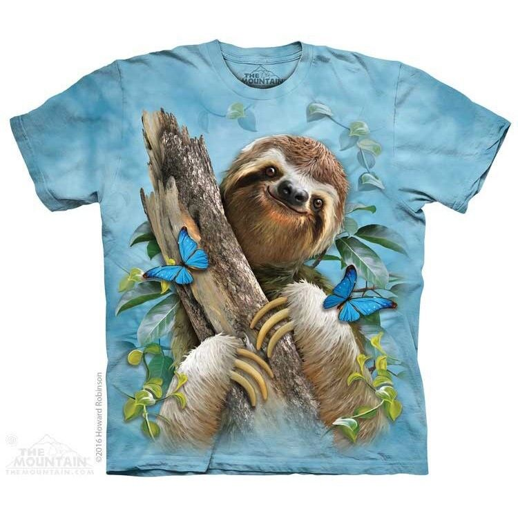 Sloth & Butterflies Kids T-Shirt by The Mountain. Zoo Animals Bugs Youth NEW