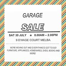 Moving Out Sale Melba Belconnen Area Preview