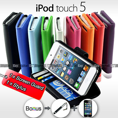 NEW Premium Leather Stand Wallet Flip Case Cover For iPod Touch 5 & Touch 6 ()