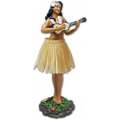 New Hawaiian Hawaii Dashboard Hula Doll Dancer Girl Ukulele Natural # 40625