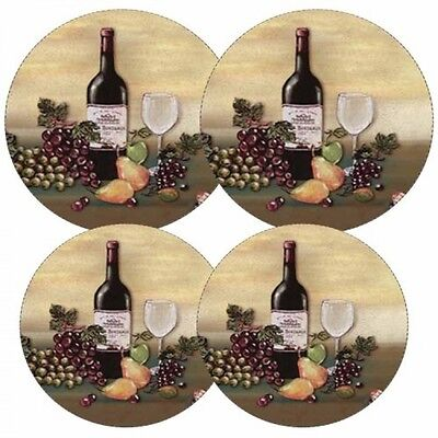 Reston Lloyd Electric Stove Burner Covers, Set of 4, Wine and Vines, New
