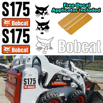Bobcat S175 Skid Steer Set Vinyl Decal Sticker 5 Pc Set Free Decal Applicator
