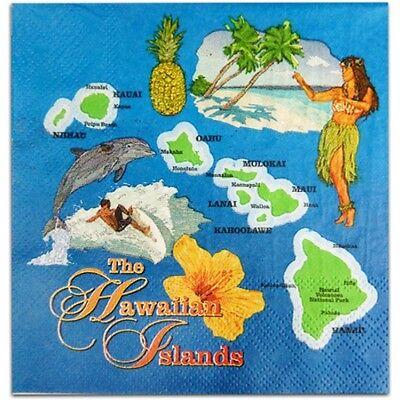 Vintage Retro Hawaiian Tiki Style Luau Beach Napkins (20) Bar Supplies, Cocktail