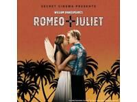 Romeo & Juliet Secret Cinema - Friday 24th August - 2 tickets