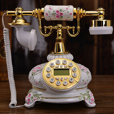 White Pastoral luxury retro European Antique phone Vintage corded telephone F056