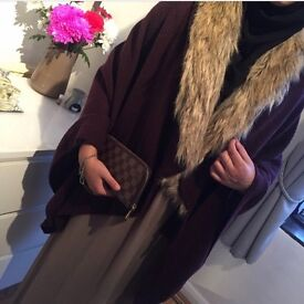 Monsoon cape with fur collar