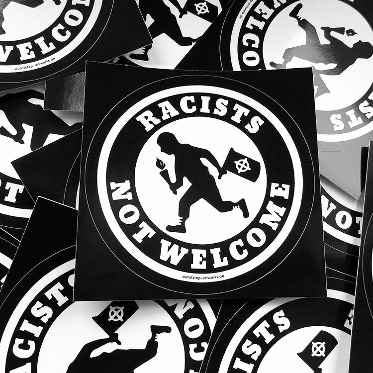 10 Stück - Racists Not Welcome 9,5cm Sticker, Aufkleber, gegen rechts, FCK AFD