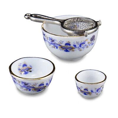 Reutter Porzellan Schüsselsatz Goldzwiebel Mixing Bowl Set Puppenstube 1:12 Garten Bowl-set