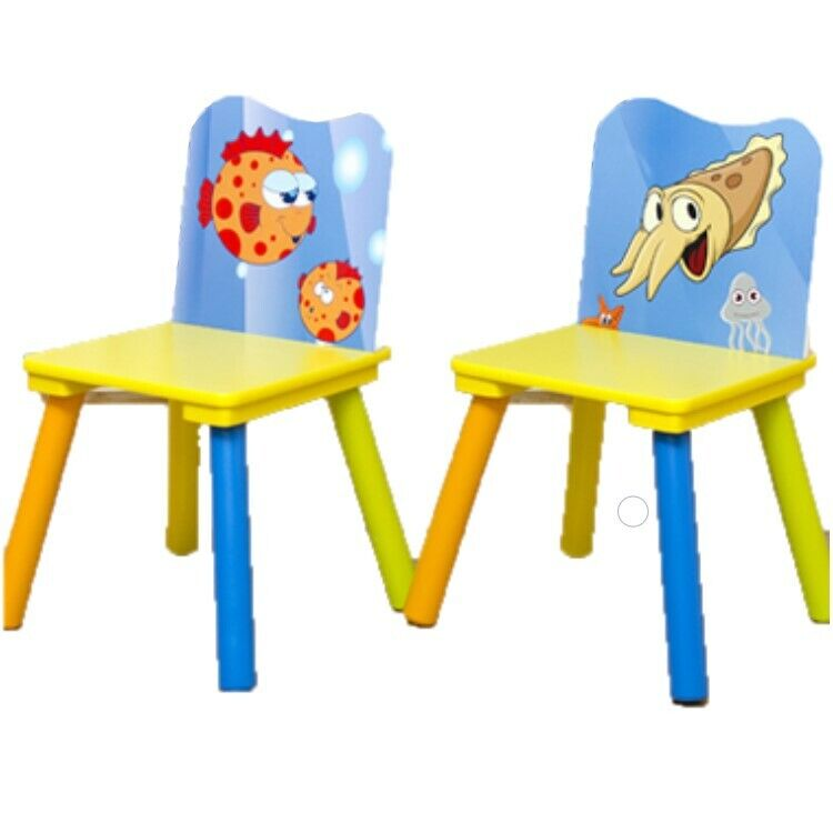 Kids Table and 2 Chairs For Toddler Baby Gift Desk Furniture Cartoon Sniper A+ 5