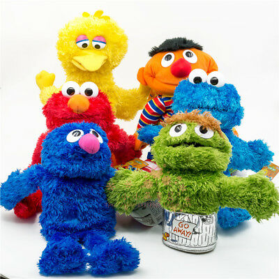 Sesame Street Plush Puppet Elmo, Cookie Monster, Zoe, Oscar Grouch, Big Bird