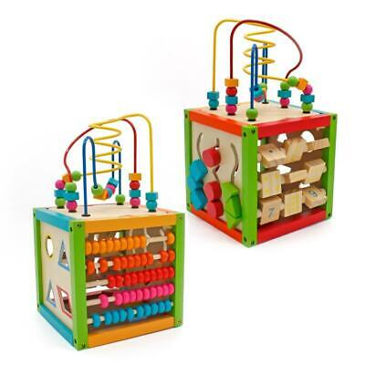 5-in-1 Wooden Activity Play Cube Multi-Function Bead Maze Learning Toy for Kids