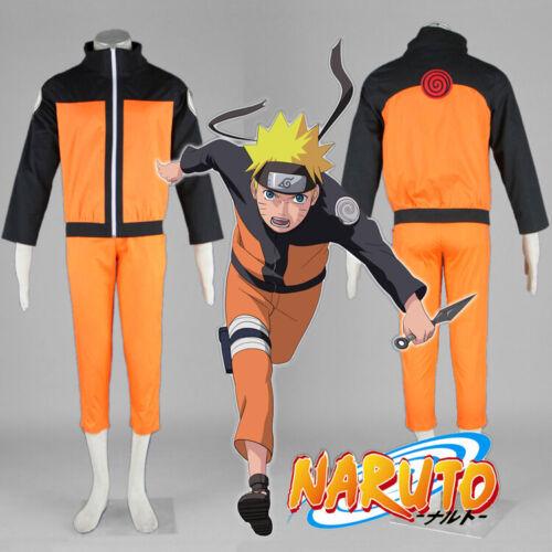 Naruto Shippuden Uzumaki Adult Cosplay Costume Jacket+Pant Full Outfit Size:XXL