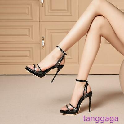 Women Stilettos Ankle Strap Sandal High Heels Ladies Pumps Shoes Plus Size 14 15