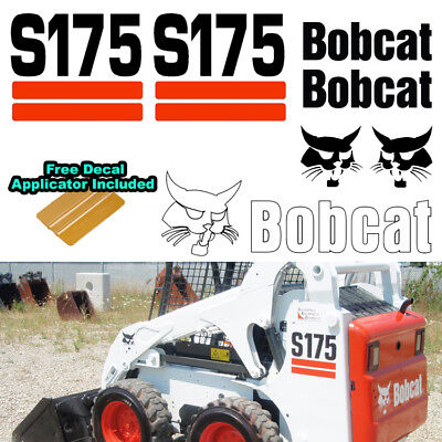 Bobcat S175 Skid Steer Set Vinyl Decal Sticker 7 Pc Set Free Decal Applicator