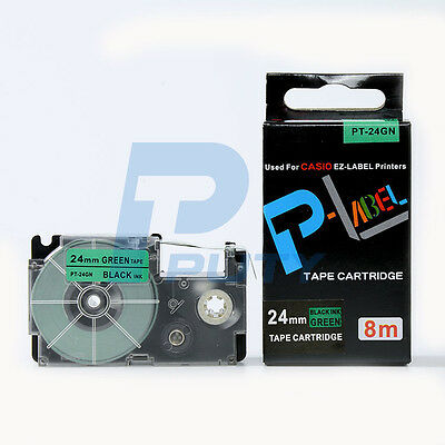 Compatible Casio Xr-24gn Black On Green Label Tape 24mm 8m 1 X 26 Xr-24gn1