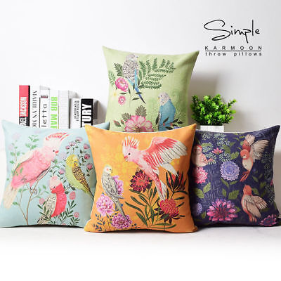 New Chic Birds Flowers Cotton Linen Pillow Case Decorative Cushion Cover 18 New