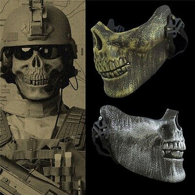 2017 New Halloween Skull Skeleton Half Face Mask Tactical Military Costume Prop - Half Skull Face Halloween