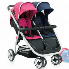 oyster twin lite double buggy pink and blue