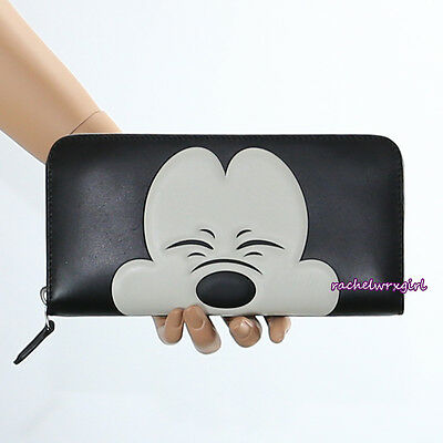 NEW Disney X Coach Squinting Mickey Mouse Black Leather Accordion Wallet 54000