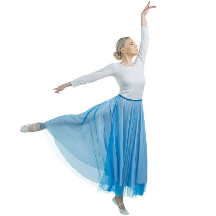 Danzcue Womens Long Full Elastic Chiffon Dance Skirt