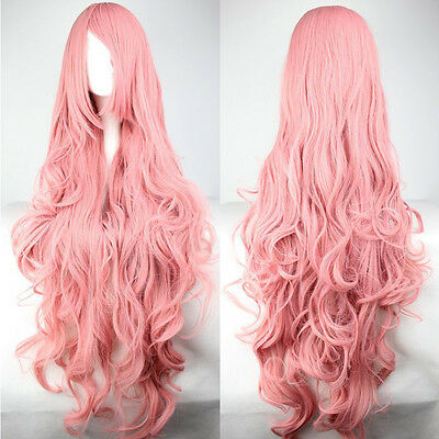 80cm Girl Lady Long Pink Curly Heat Resistance Synthetic Full Wigs Cosplay + Cap