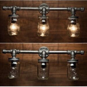 Industrial Iron pipe and glass Light fixture
