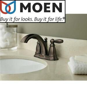NEW MOEN BRANTFORD BATHROOM FAUCET 6610ORB 211218911 6610ORB Two Handle Low Arc Bathroom Faucet with Drain Assembly  ...