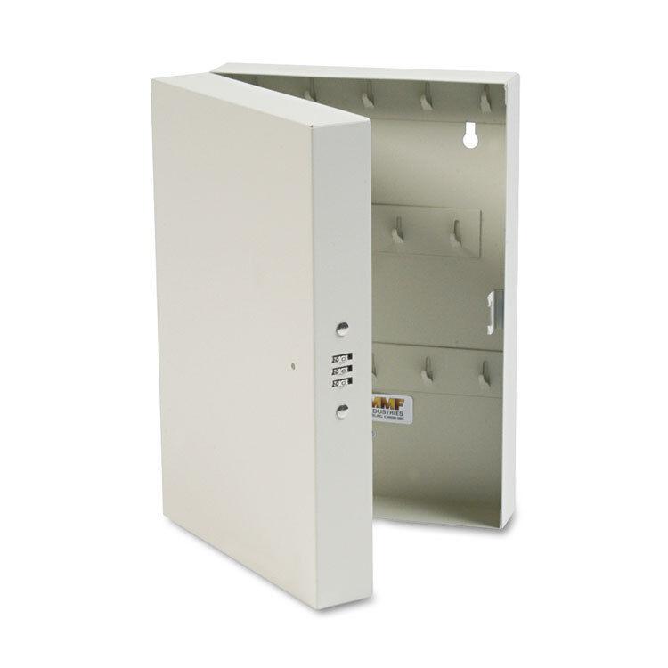 """SteelMaster Hook-Style Key Cabinet 28-Key Steel Putty 7-3/4""""w x 3-1/4""""d x 11-1/2"""