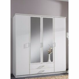AVAILABLE FOR SAME DAY === BRAND NEW GERMAN OSAKA 4 DOOR DOOR WARDROBE IN WHITE AND WALNUT
