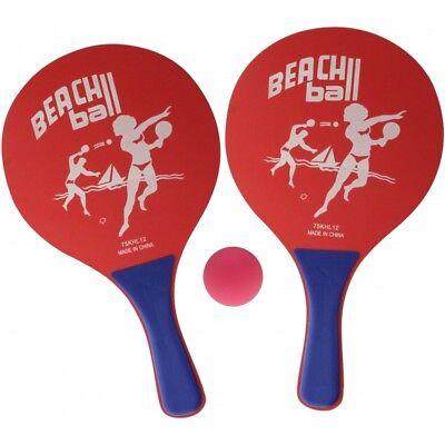 1 Beachball Set Beach Ball 2 Schläger 1 Ball Strand Spiel Tennis Strandspiel rot