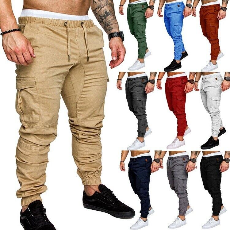Mens Casual Skinny Cargo Combat Work Trousers Joggers Slim Fit Bottoms Pants