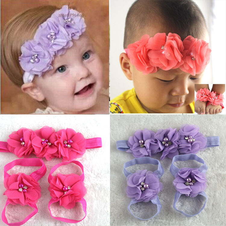 Colorful Foot Flower Barefoot Sandals + Headband Set for Baby Infants Girls top