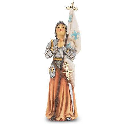 Statue St Joan of Arc 4 inch Painted Resin Figurine Patron Saint Catholic (Arc Statue)