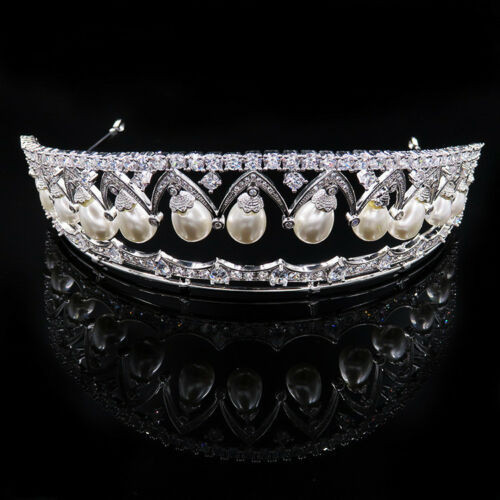 Luxury All CZ Cubic Zirconia Pearl Wedding Queen Party Pageant Prom Tiara Crown